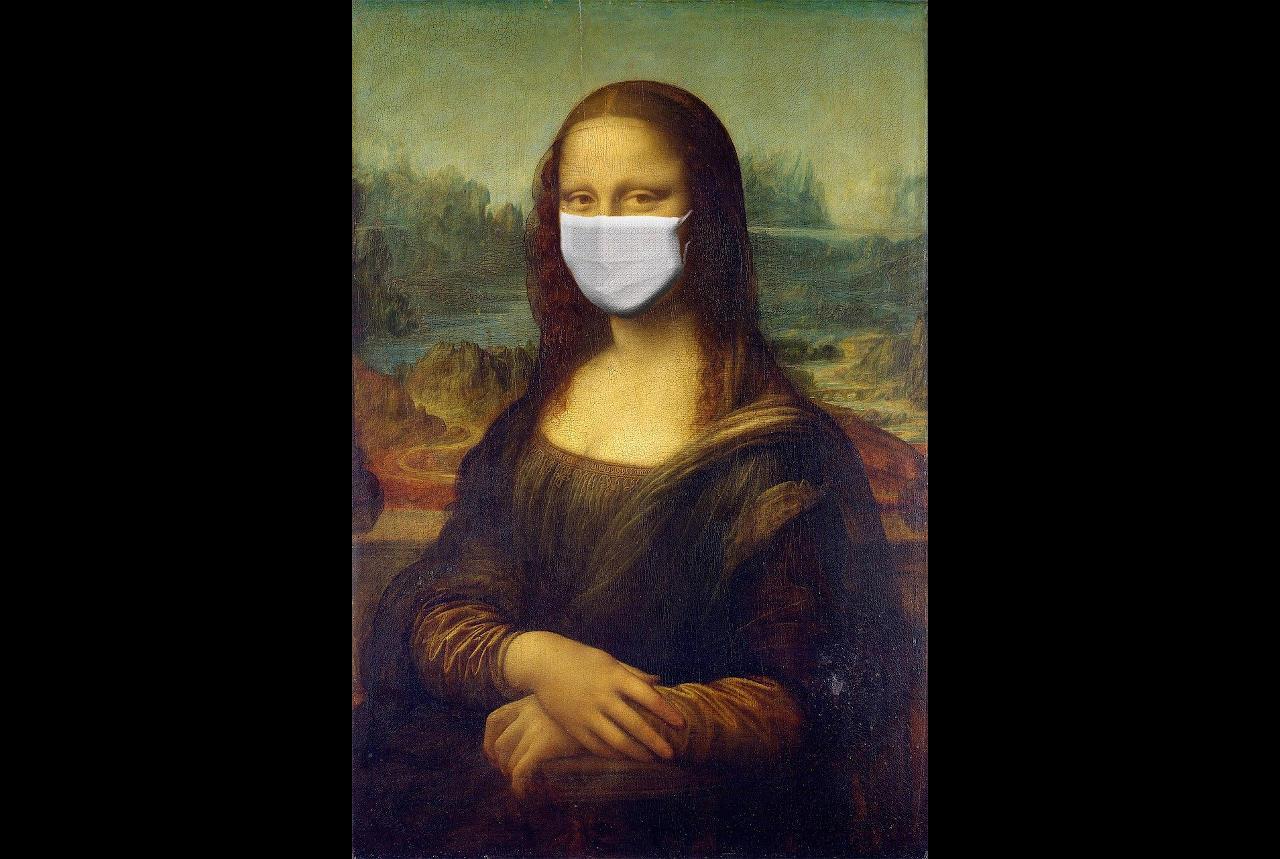 Mona Lisa in Coronavirus Mask